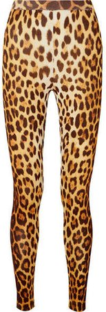 Leopard-print Stretch-knit Leggings - Brown