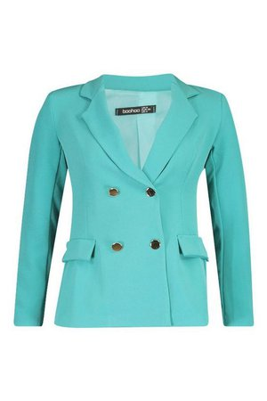 Petite Double Breasted Military Blazer | Boohoo Teal