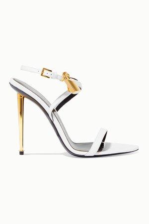 White embellished leather sandals