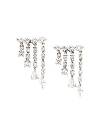 Anita Ko 18Kt White Gold Small Rain Drop Diamond Earrings AKRDE10 Silver | Farfetch