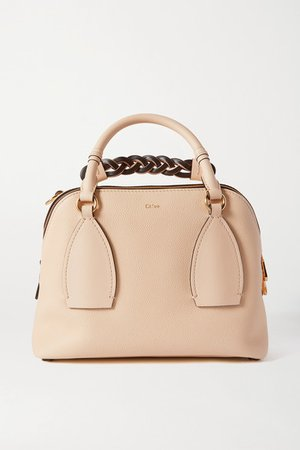 Daria Medium Textured And Smooth Leather Tote - Beige