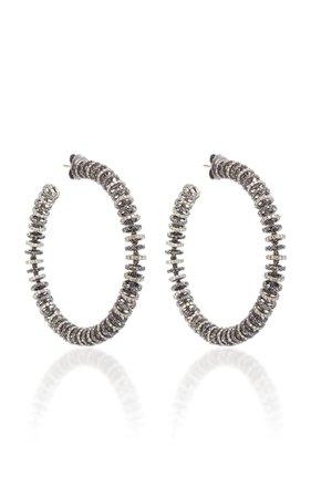 Large Black & Brown Diamond Disk Hoop Earrings by Ofira | Moda Operandi