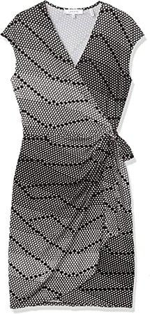 Amazon.com: Amazon Brand - Lark & Ro Women's Classic Cap Sleeve V-Neck Compact Matte Jersey Wrap Dress, Black/Winter White Polka Dot, Large: Clothing
