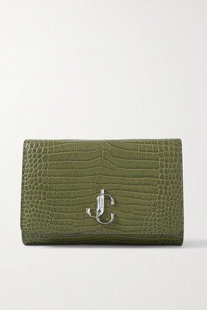 Varenne Croc-effect Leather Clutch - Army green