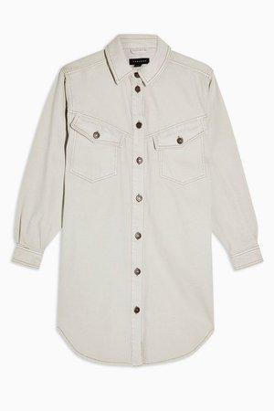 IDOL Grey Denim Sculpted Shirt Dress | Topshop