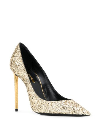 Shop gold Saint Laurent Zoe 110mm glitter-embellished pumps with Express Delivery - Farfetch