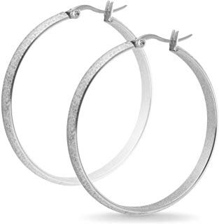 Silver Glitter Hoop Earrings