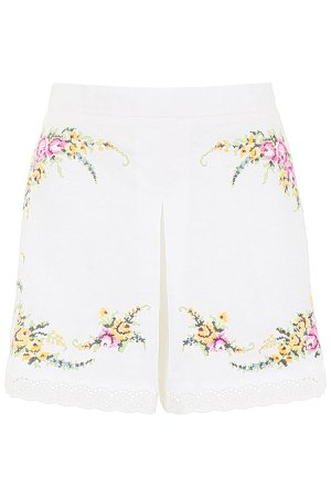 Zimmermann Embroidered Shorts With Lace