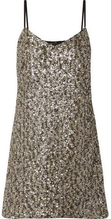 Twinkling Stars At Night Sequined Mesh Mini Dress - Gold