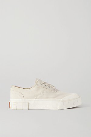 Net Sustain Space For Giants Frayed Organic Cotton-canvas Sneakers - Beige