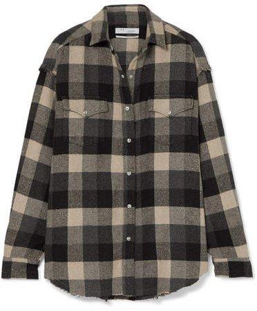 Garance Plaid Cotton-blend Flannel Shirt - Black