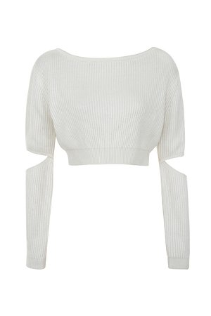 Clothing : Tops : 'Tatum' Off White Cropped Soft Rib Knit Sweater
