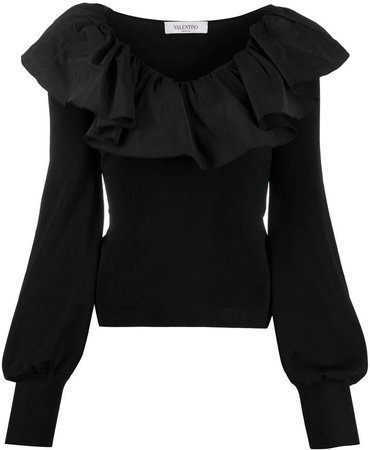 ruffled collar long-sleeved blouse