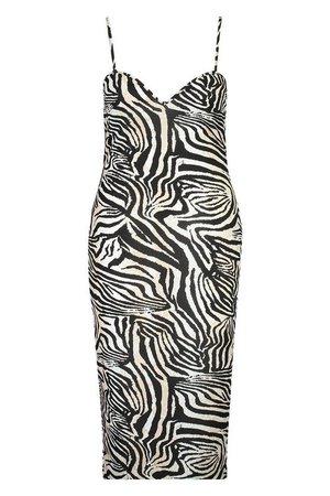 Plus Zebra Plunge Midaxi Dress | boohoo