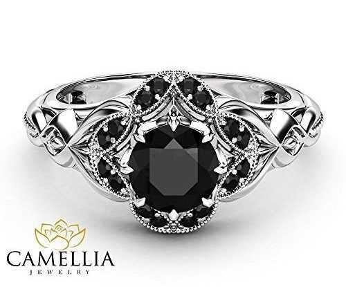 Black Diamond Silver Ring