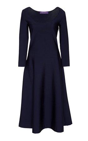 Ralph Lauren Crepe Ballet Neck Dress