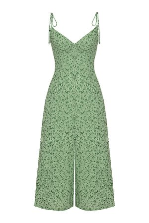Clothing : Midi Dresses : 'Cornelia' Green Tonal Floral Midi Dress