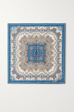 Blue Printed silk-twill scarf | Purdey | NET-A-PORTER