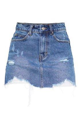 Mid Wash Distressed Hem Denim Skirt | PrettyLittleThing