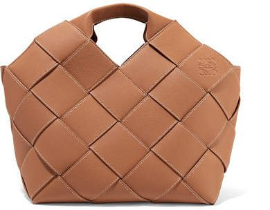 Woven Textured-leather Tote - Brown