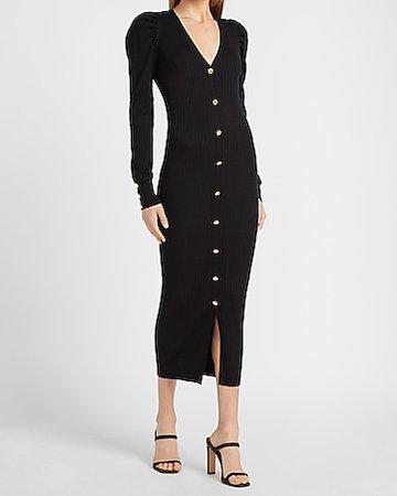 Ribbed Turtleneck Midi Sweater Dress | Express