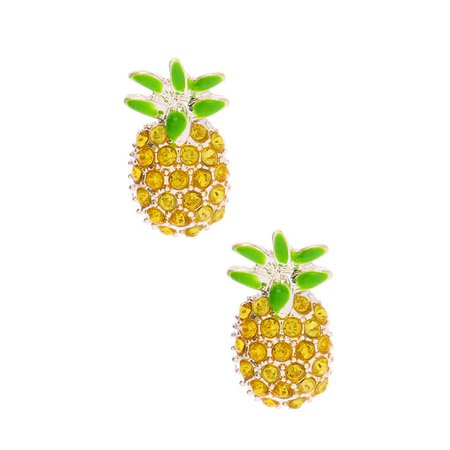 Embellished Pineapple Stud Earrings - Yellow | Claire's