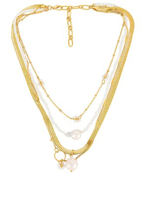 Amber Sceats Layered Pearl Necklace in Gold | REVOLVE
