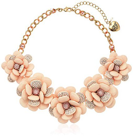 """Betsey Johnson """"Marie Antoinette"""" Large Pave Flower Statement Necklace: Clothing"""