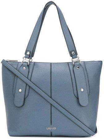 faux leather logo tote