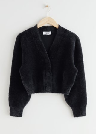 Cropped Boxy Knit Cardigan - Black - Cardigans - & Other Stories