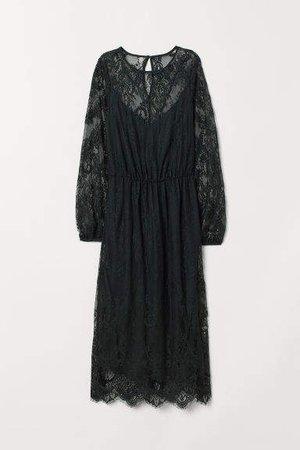 Calf-length Lace Dress - Green