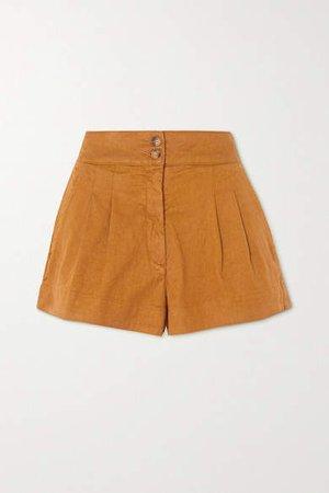 Nessa Stretch-linen And Cotton-blend Shorts - Tan
