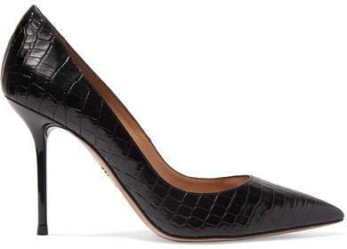 Purist Croc-effect Leather Pumps - Black