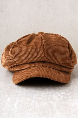 good compant tan corduroy baker boy cap