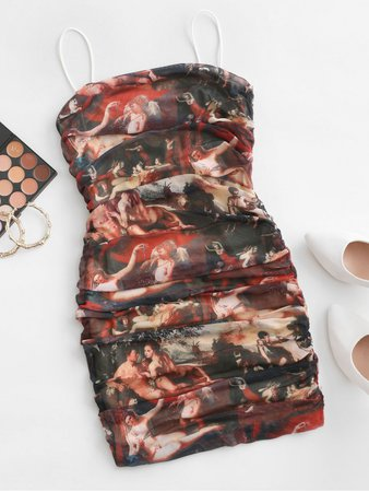[26% OFF] [POPULAR] 2020 Statue Print Renaissance Ruched Bodycon Dress In MULTI | ZAFUL