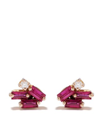 Suzanne Kalan 18kt Rose Gold Diamond Sapphire Mini Stud Earrings - Farfetch