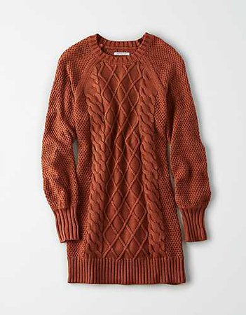 AE Acid Wash Cable Knit Sweater Dress brown