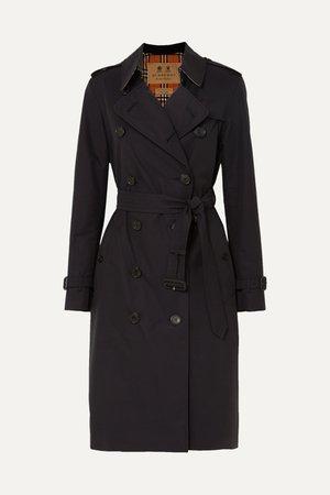 Midnight blue The Kensington Long cotton-gabardine trench coat | Burberry | NET-A-PORTER