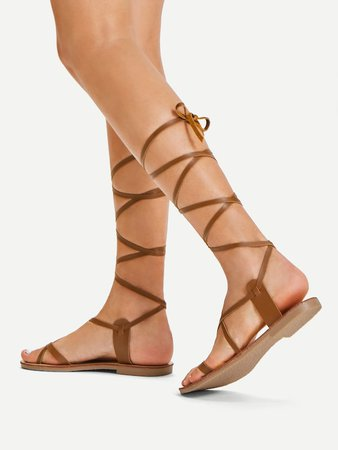 Lace Up Knee High Gladiator Sandal Boots | SHEIN