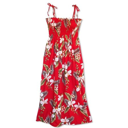 Lavahut - Volcanic Red Maxi Hawaiian Dress