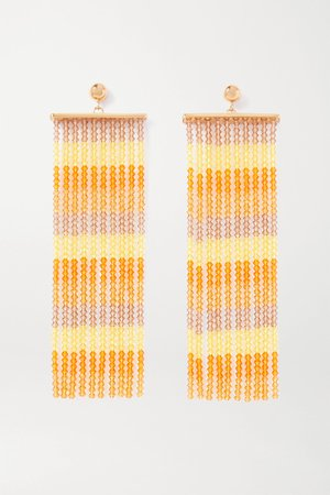 Orange Les Rideaux beaded gold-tone earrings | Jacquemus | NET-A-PORTER