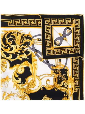 Shop white & gold Versace Barocco print scarf with Express Delivery - Farfetch