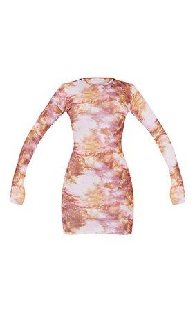 Multi Tie Dye Ribbed Long Sleeve Bodycon Dress   PrettyLittleThing USA