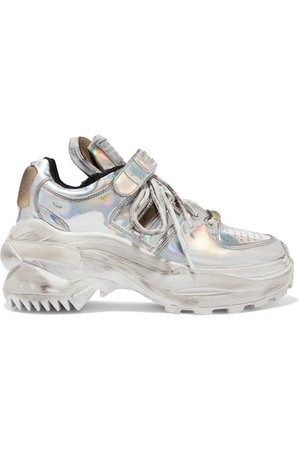 Maison Margiela | Silver mirrored-leather platform sneakers | NET-A-PORTER.COM