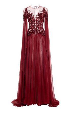 Embellished Silk-Chiffon Flared Dress By Zuhair Murad | Moda Operandi