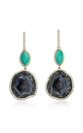 18K Yellow Gold, Dark Geode and Muzo Emerald Double Drop Earrings by Kimberly McDonald x Muzo   Moda Operandi