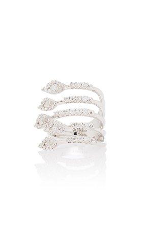 Yeprem Wrap-Around 18K White And Diamond Ring
