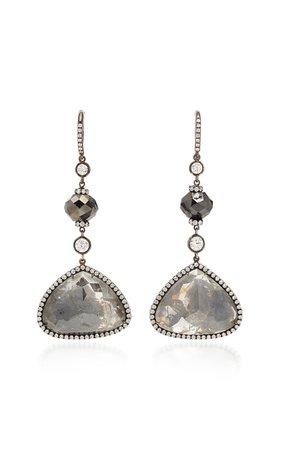 Martin Katz Grey-Black Rough Rose-Cut Diamond Drop Earrings