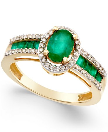 Macy's Emerald & Diamond 14k Gold Ring