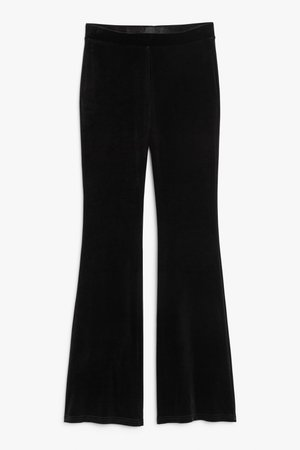 High-waist flared trousers - Black - Trousers - Monki
